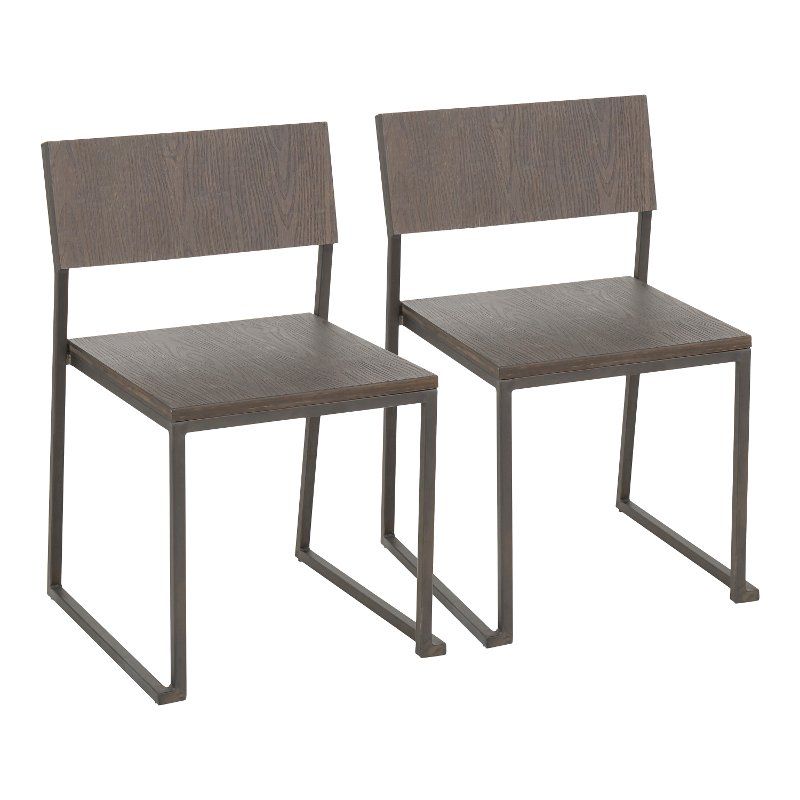 Industrial Antique Metal and Brown Dining Room Chair (Set of 2) - Fuji