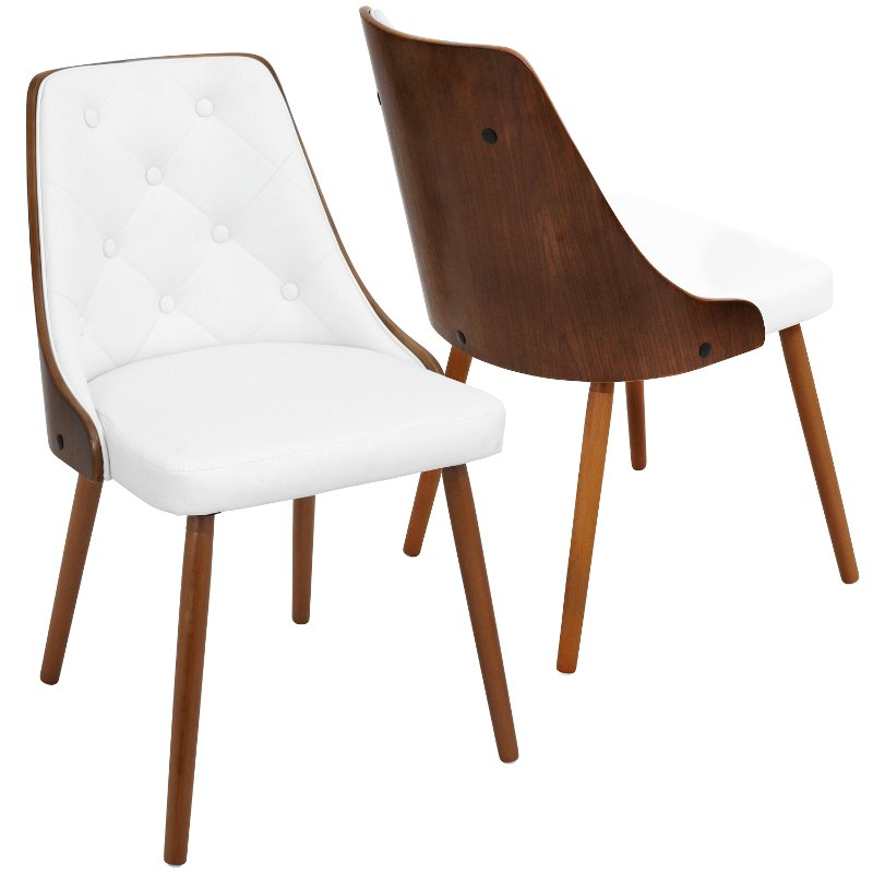 Mid Century White and Brown Faux Leather Dining Room Chair - Gianna