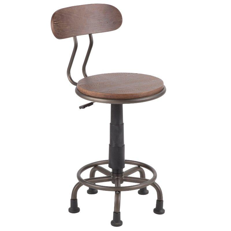 Outstanding Industrial Antique Metal And Espresso Wood Task Chair Dakota Cjindustries Chair Design For Home Cjindustriesco