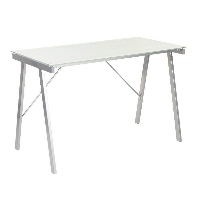 Modern White and Silver Office Desk - Exponent