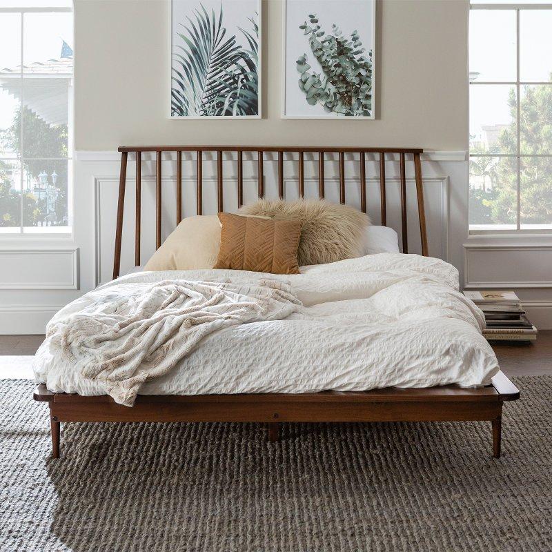 Modern Walnut Brown Queen Spindle, Platform Bed Bedding