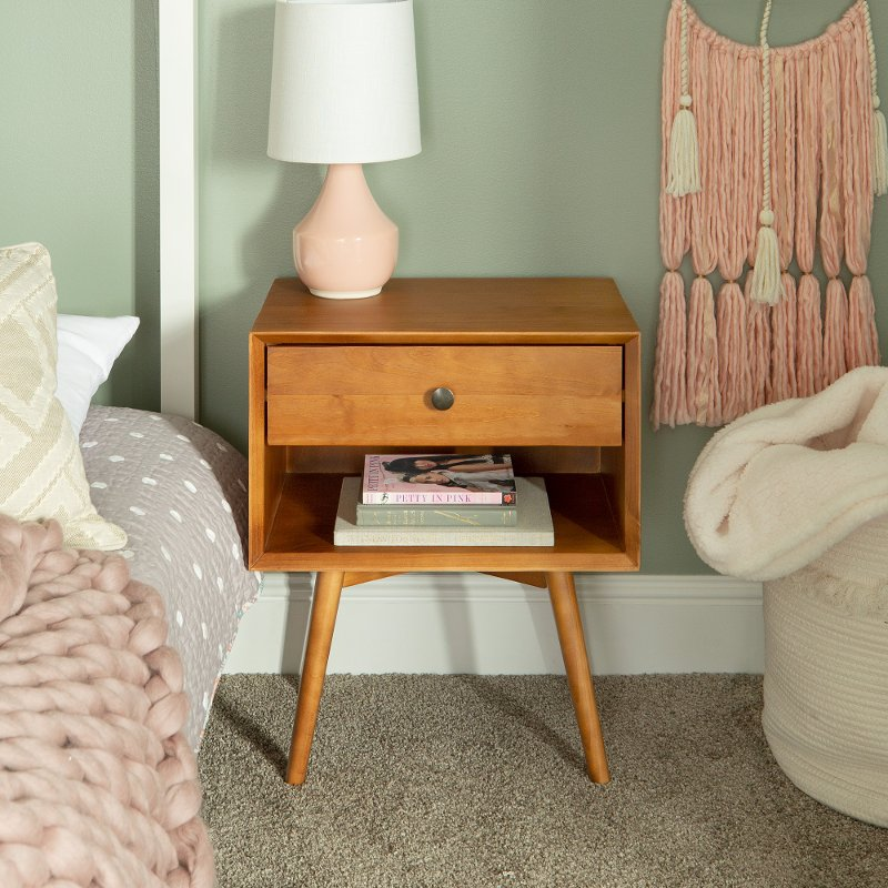 Mid Century Caramel Brown Nightstand Rc Willey Furniture Store