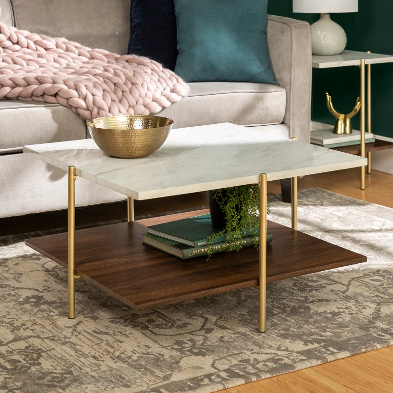 Mid Century Marble And Gold Coffee Table Simone