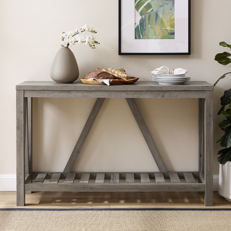 Rustic Gray Entryway Table A Frame Rc Willey - What To Put On An Entryway Table