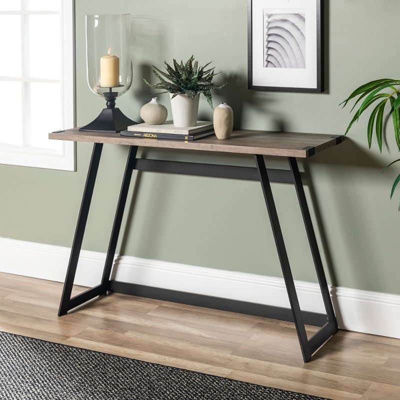 Gray 46 Inch Entryway Table Metal Wrap Rc Willey - What To Put On An Entryway Table