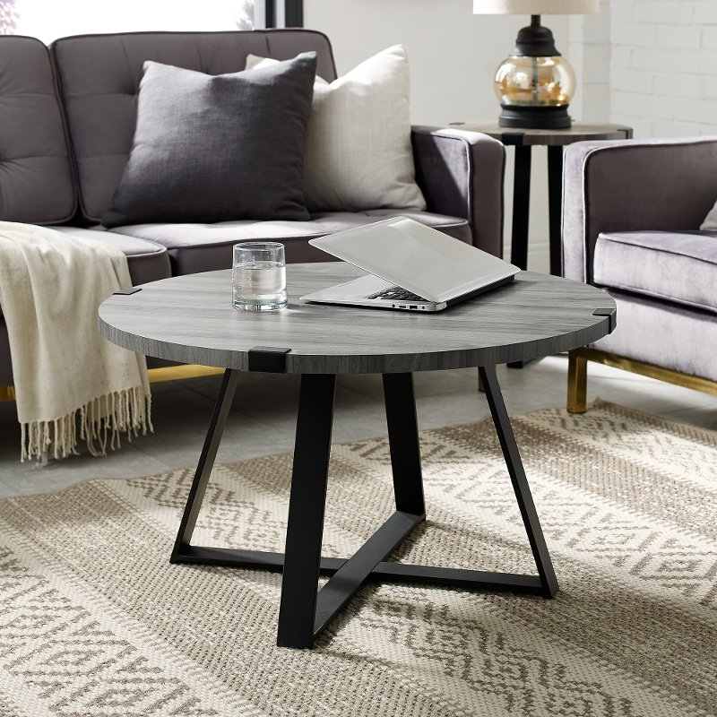 Slate Gray Round Coffee Table Metal