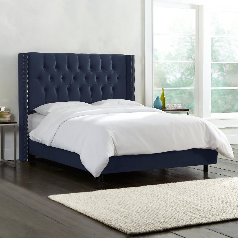 Dark Blue Diamond Tufted Wingback Full Upholstered Bed Rc Willey Furniture Store