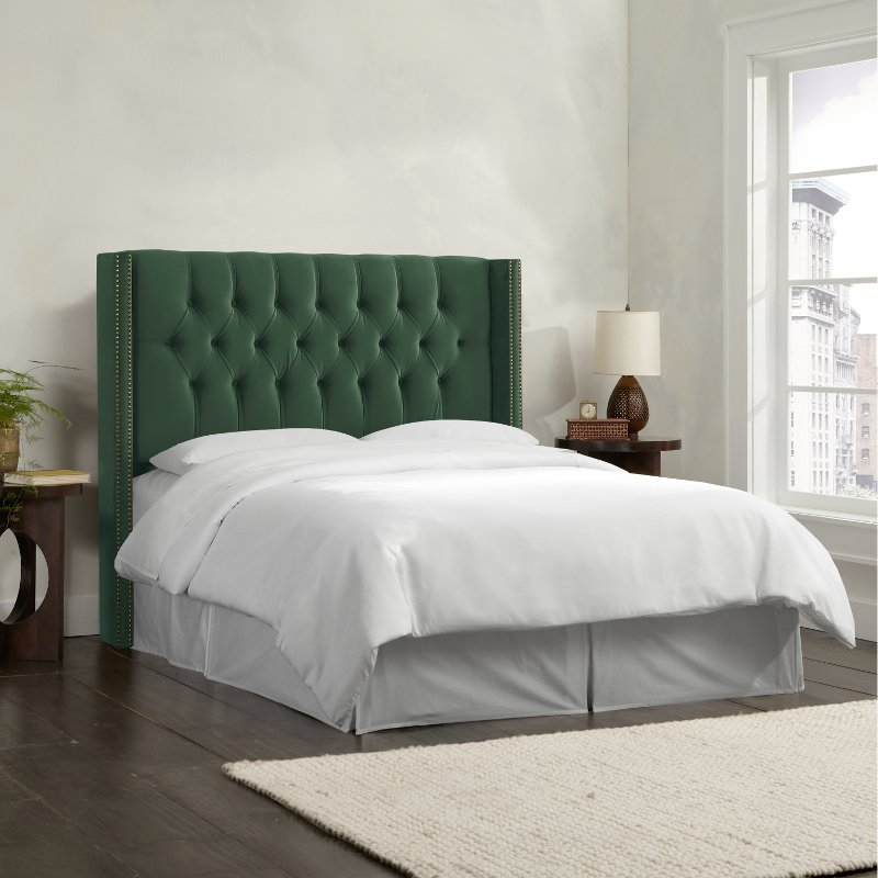 Jade Green Wingback King Upholstered Headboard Rc Willey Furniture Store