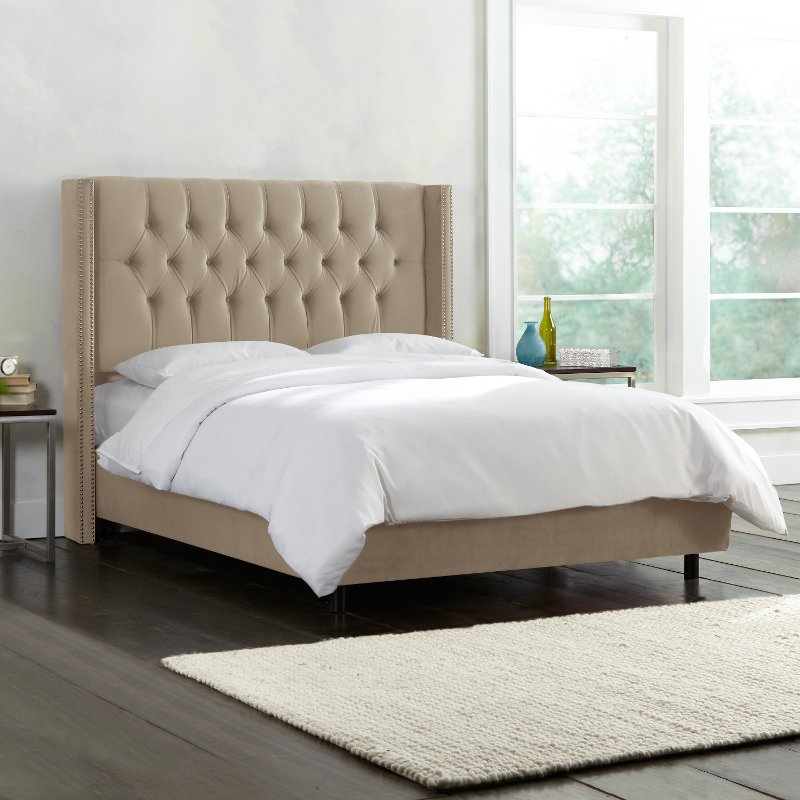 Beige Wingback King Upholstered Headboard Rc Willey Furniture Store