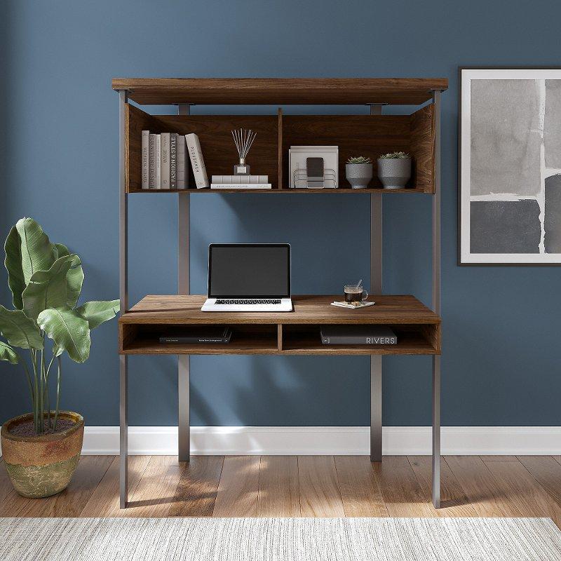 Walnut Small Computer Desk With Hutch, Compact Computer Desk