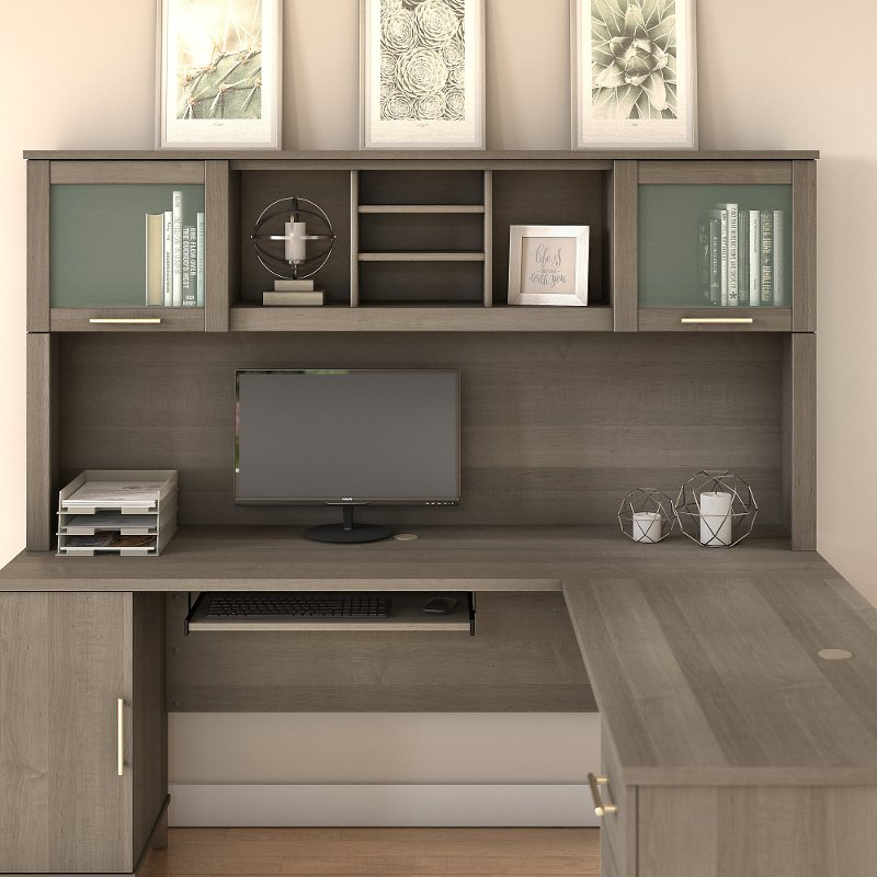 Ash Gray 72 Inch Hutch For L Shaped Desk Somerset Rc Willey