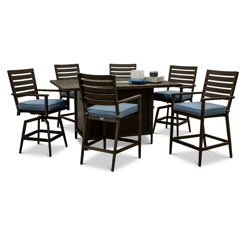 7 Piece Patio Fire Pit Dining Table, Bar Height Patio Table With Fire Pit