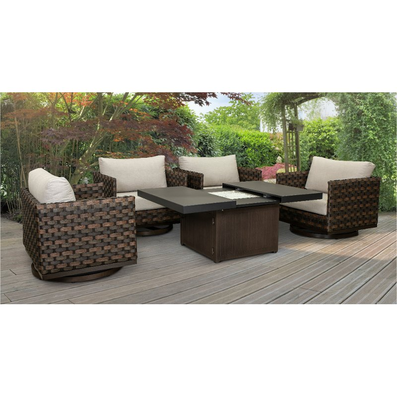 Brown 5 Piece Patio Fire Pit Set With