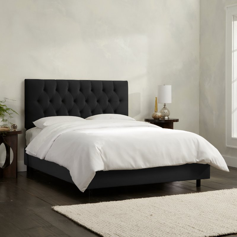 Tufted Velvet Black Queen Upholstered, Upholstered Bed Frame Queen Black