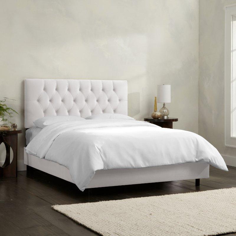 Tufted Velvet White Queen Upholstered, Upholstered Bed Frame Queen White