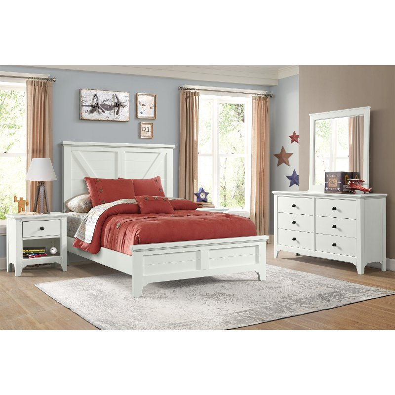Rustic White 4 Piece Twin Bedroom Set Tahoe Rc Willey