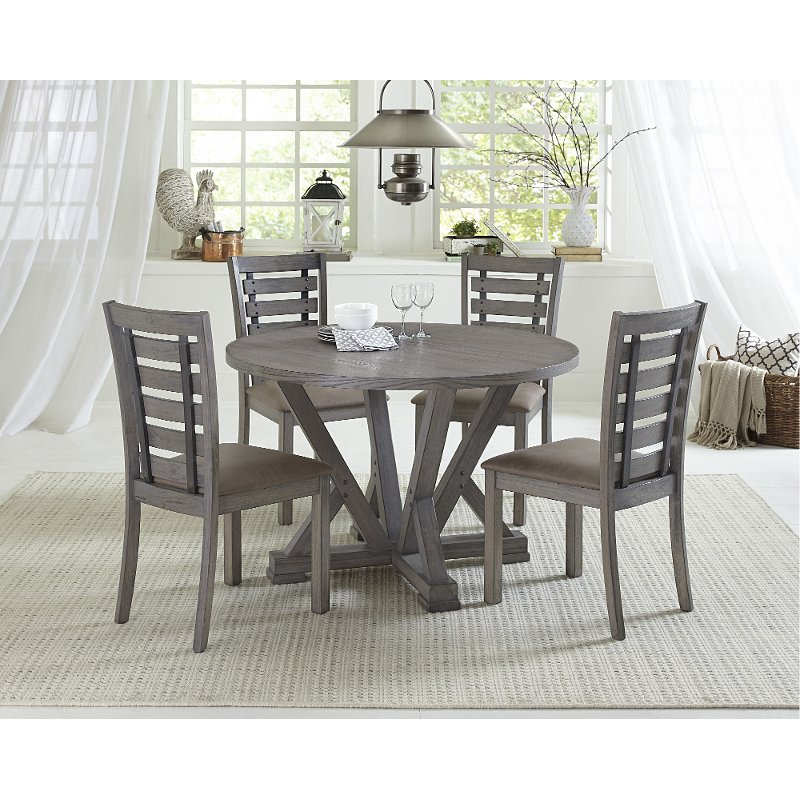 Distressed Gray Round 5 Piece Dining Room Set Fiji Rc Willey Furniture Store