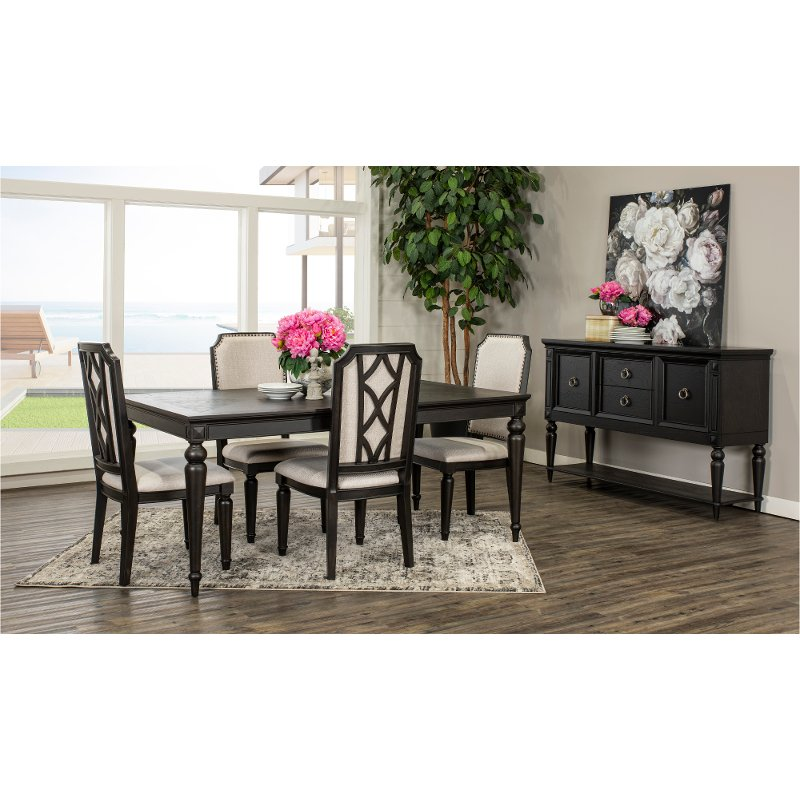 Traditional Black 5 Piece Dining Room, Black Dining Room Table