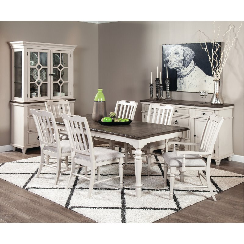 White Two Tone 7 Piece Dining Room Set, White Dining Room Sets