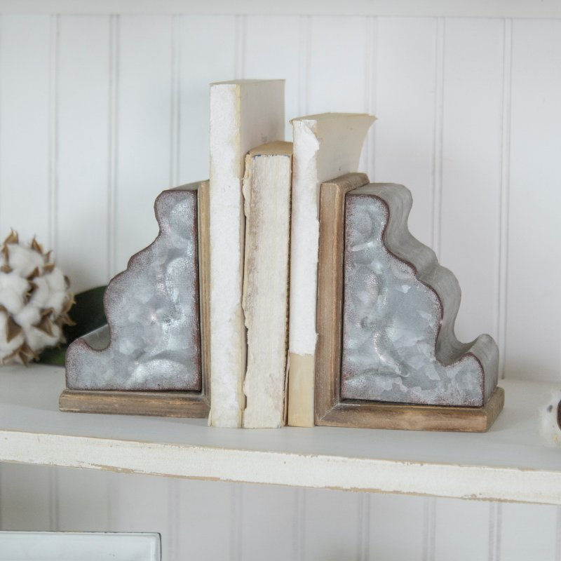 Two Tone Metal And Wood Corbel Bookend Pair Rc Willey Furniture Store
