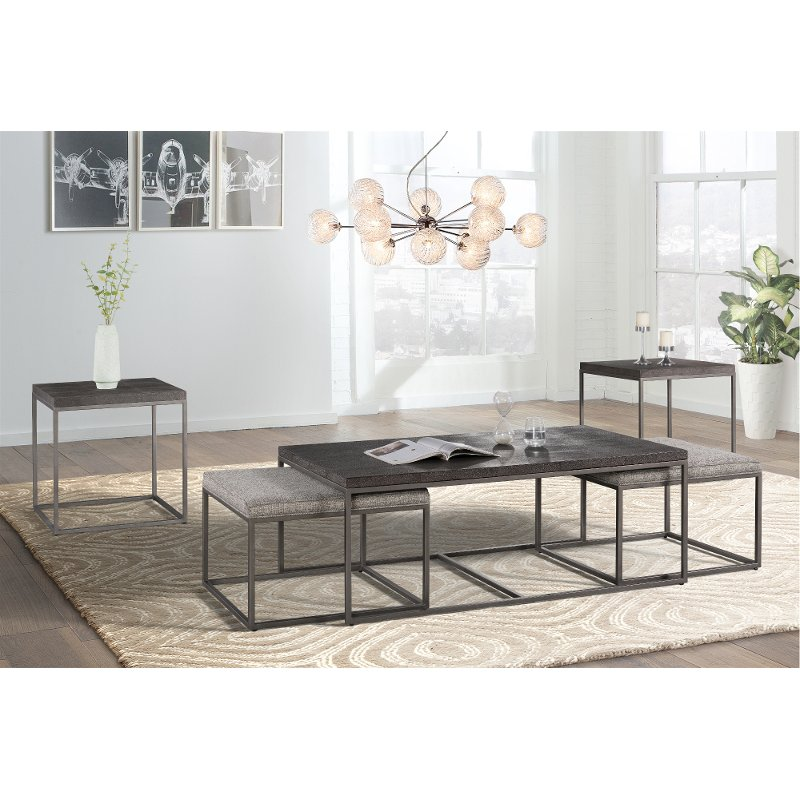 Gray Metal Nesting Coffee Table With 2 Ottomans Nina Rc Willey Furniture Store