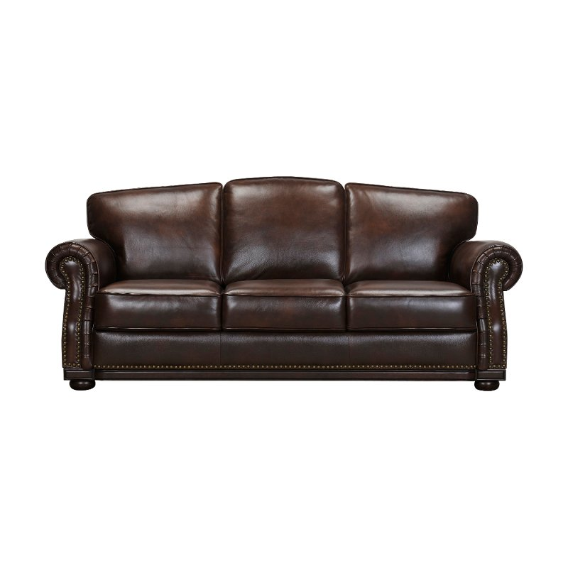 Traditional Tobacco Brown Leather Sofa - Durham