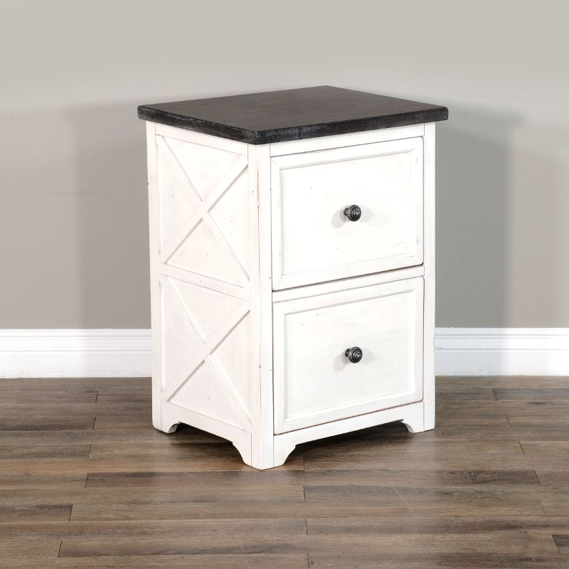 White Country File Cabinet Carriage, White Wood File Cabinet