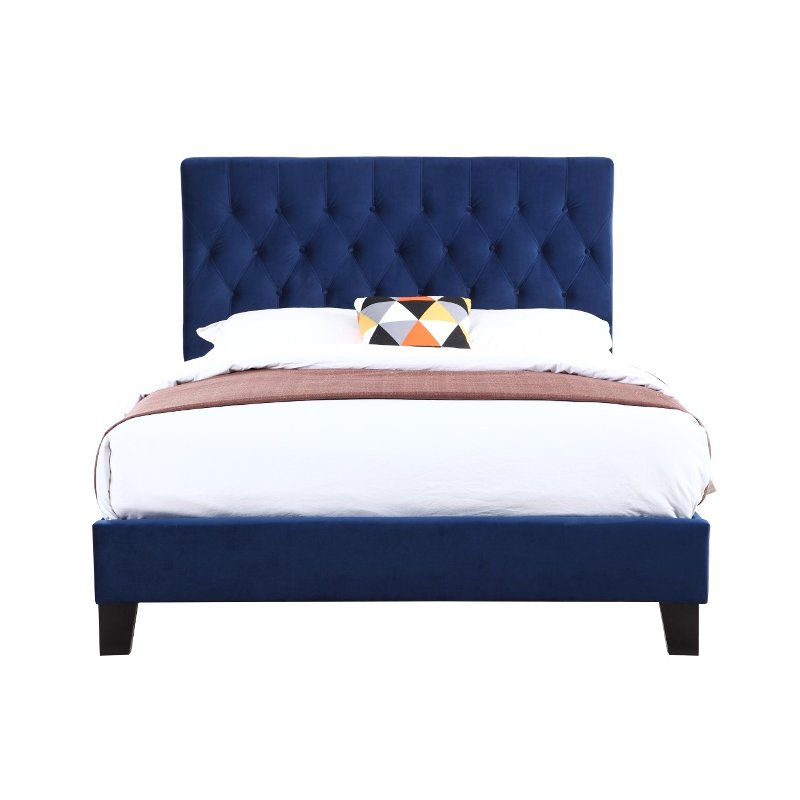 Navy Blue Queen Upholstered Bed Amelia Rc Willey Furniture Store