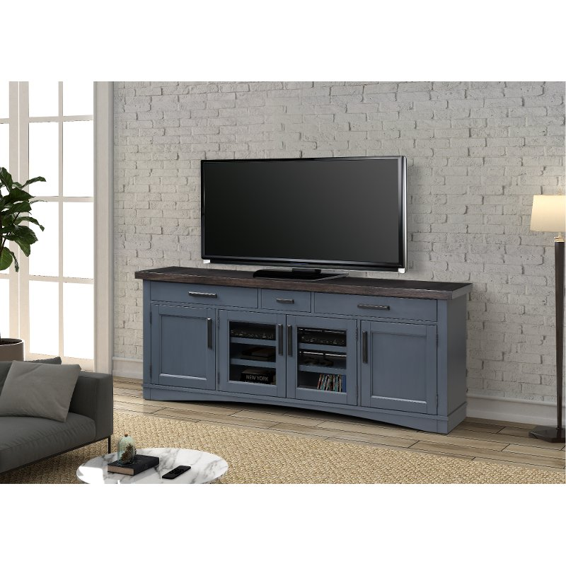 Country Style Denim Blue 76 Inch Tv Stand Rc Willey Furniture Store