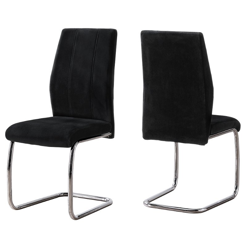 Black And Chrome Dining Room Chair Set Of 2 Angles Rc Willey Furniture Store