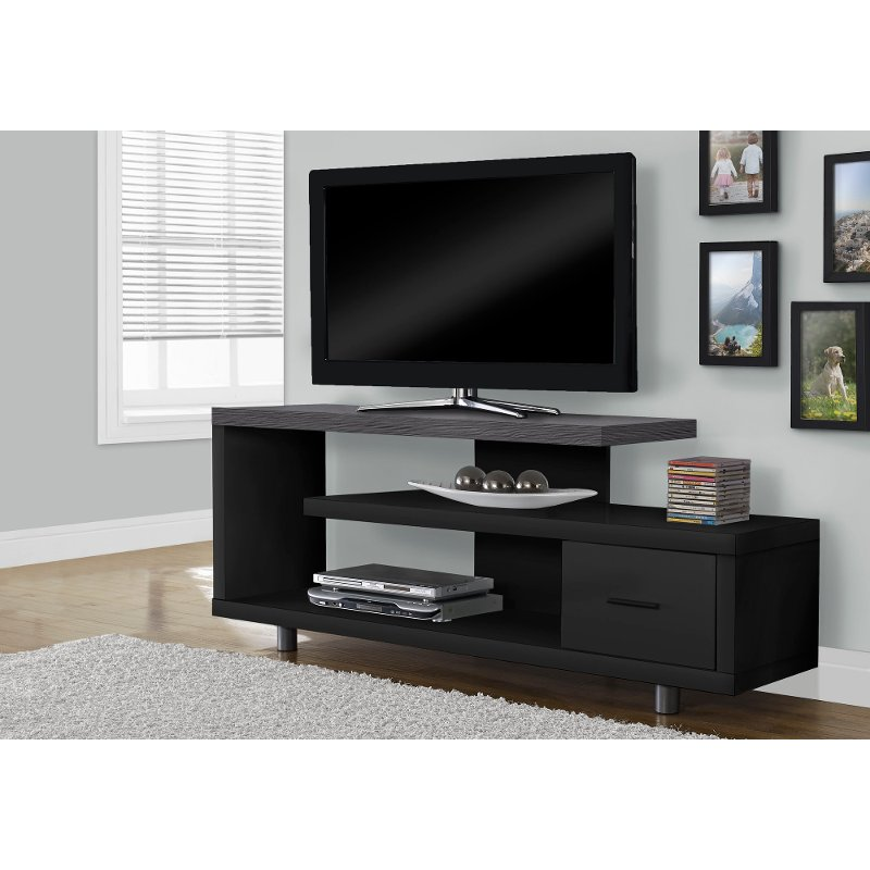 Modern Black and Gray 60 Inch TV Stand