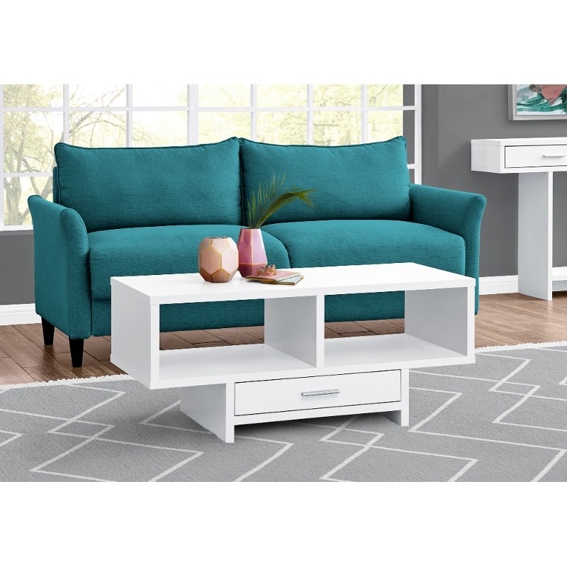 Modern White Coffee Table With Storage Faye Rc Willey Furniture Store