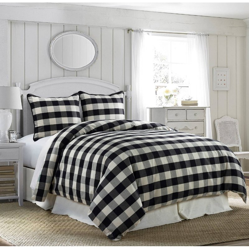 Black And White Buffalo Check Camille, Black And White Check Queen Bedding