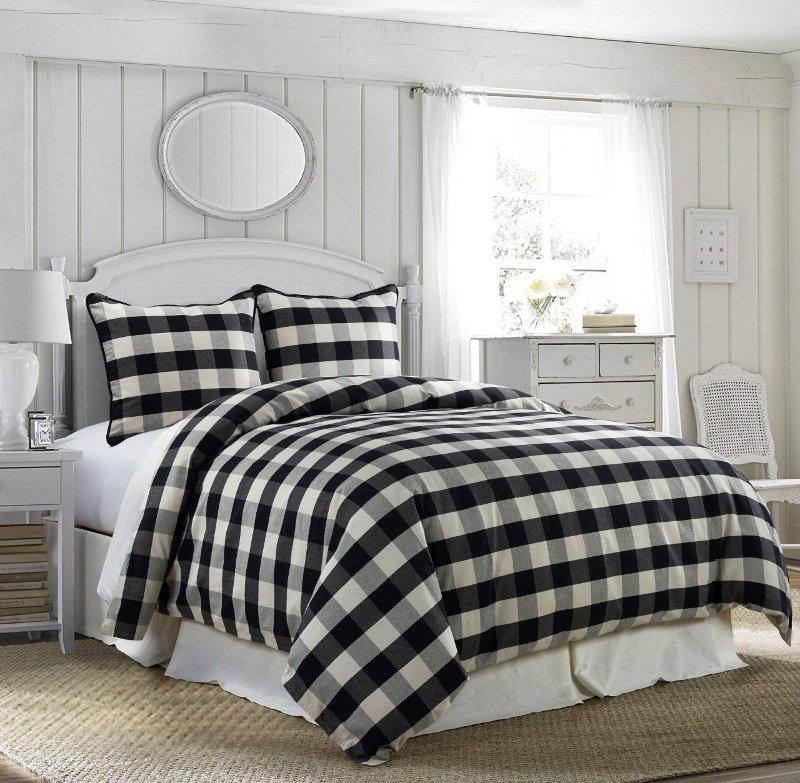 Black And White Buffalo Check Camille, White Super King Size Bedding Set