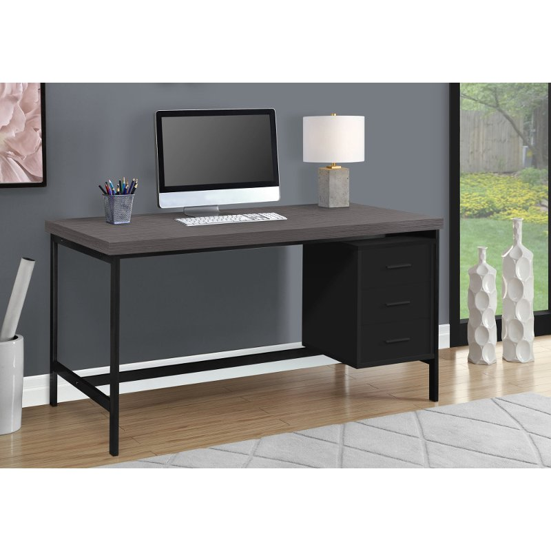Modern Black Computer Desk with Gray Top | RC Willey Furniture Store