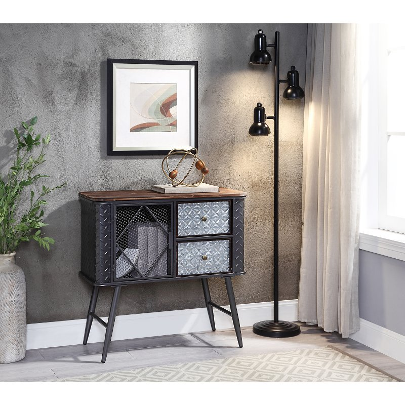 Multi Textured Gray Two Drawer Metal, Accent Cabinet With Drawers