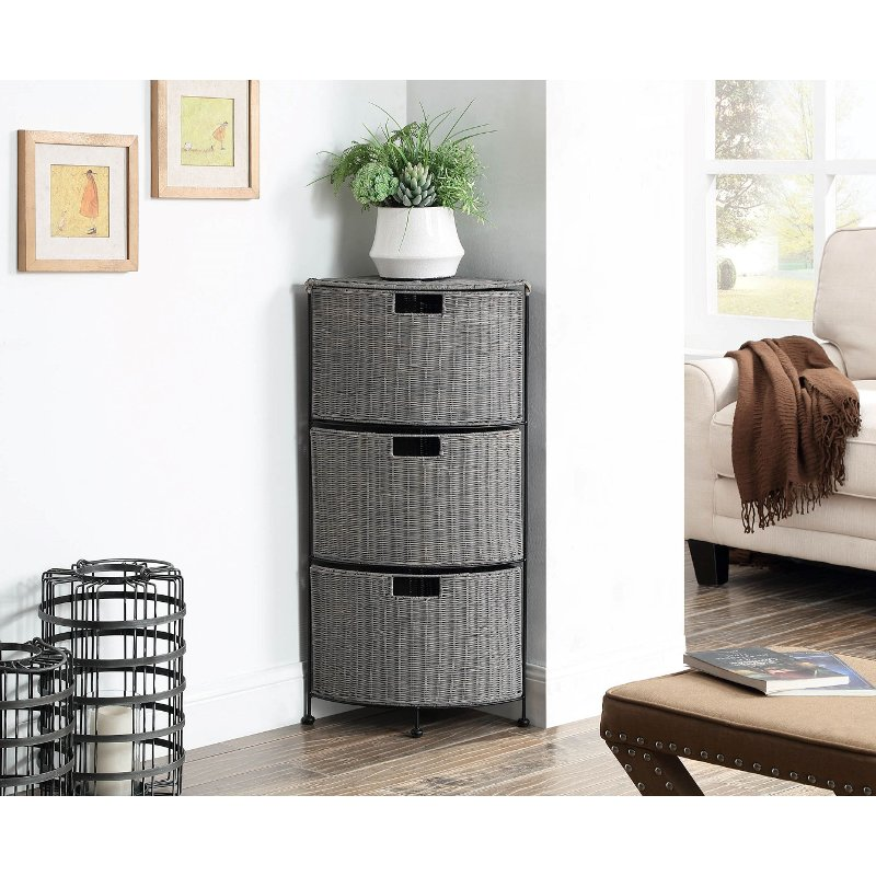 Gray Wicker And Black Metal 3 Drawer Corner Cabinet Autumn Rc Willey Furniture Store