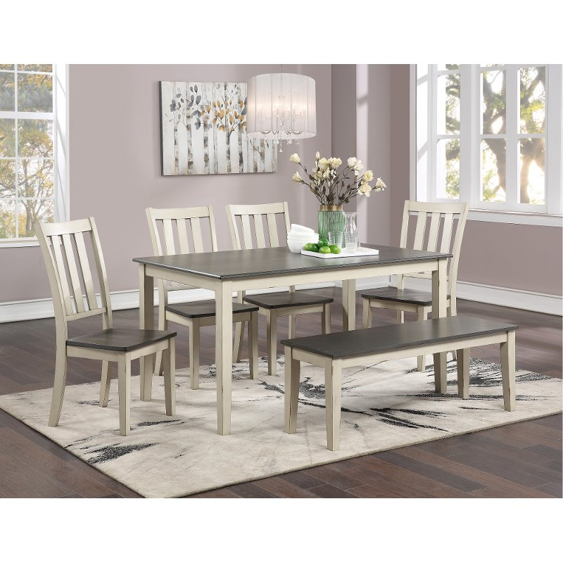 Farmhouse White And Gray 6 Piece Dining Room Set Remy Rc Willey Furniture Store