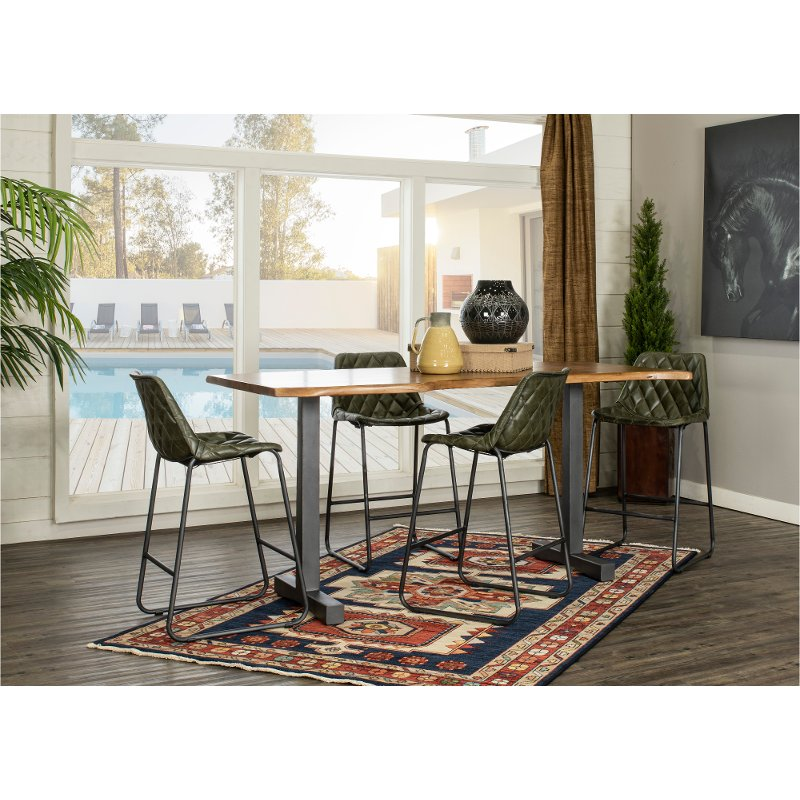 Industrial 5 Piece Counter Height Dining Room Set With Green Chairs Black Forest Rc Willey Furniture Store