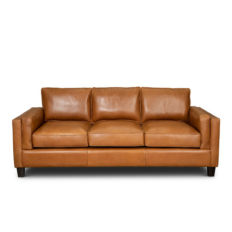 Contemporary Light Brown Leather Sofa