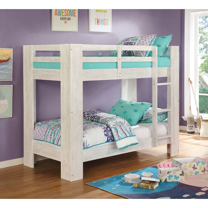 Contemporary White Twin Over Twin Bunk Bed Kai Rc Willey Furniture Store