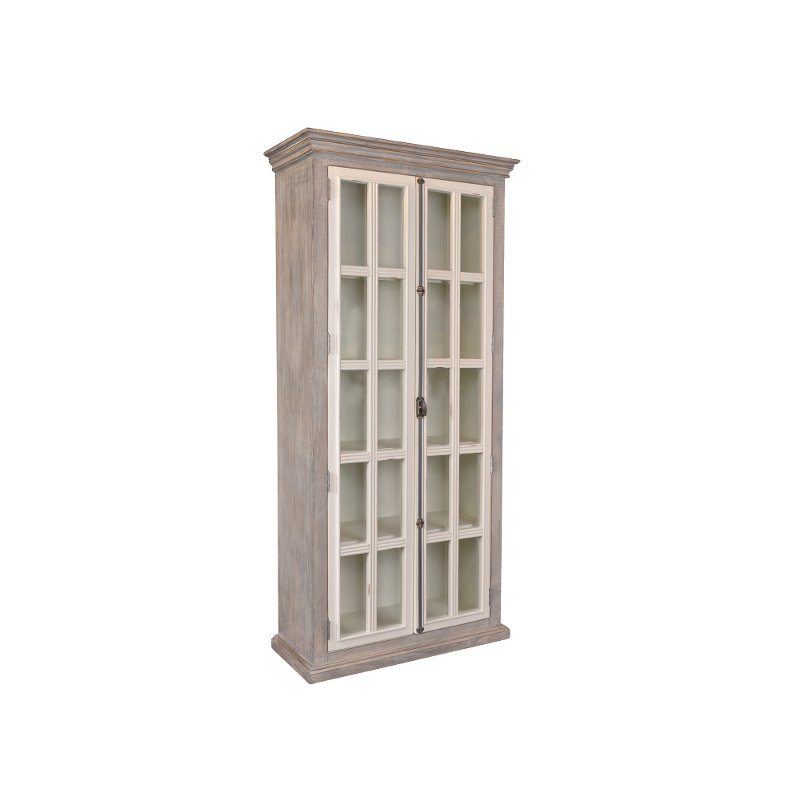 Gray Two Tone Tall Display Cabinet, Tall Curio Cabinet