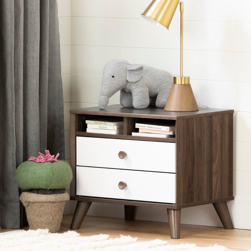 Modern Walnut Brown And White Nightstand Yodi Rc Willey Furniture Store