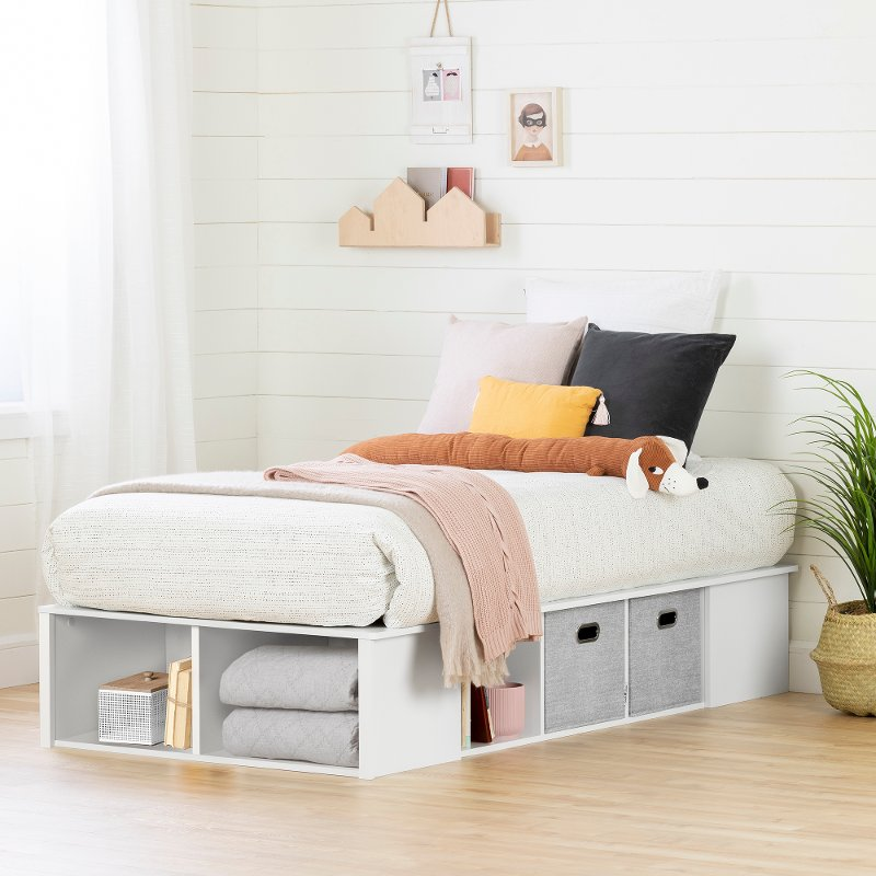 White Twin Platform Bed With Storage Bins Flexible Rc Willey Furniture Store