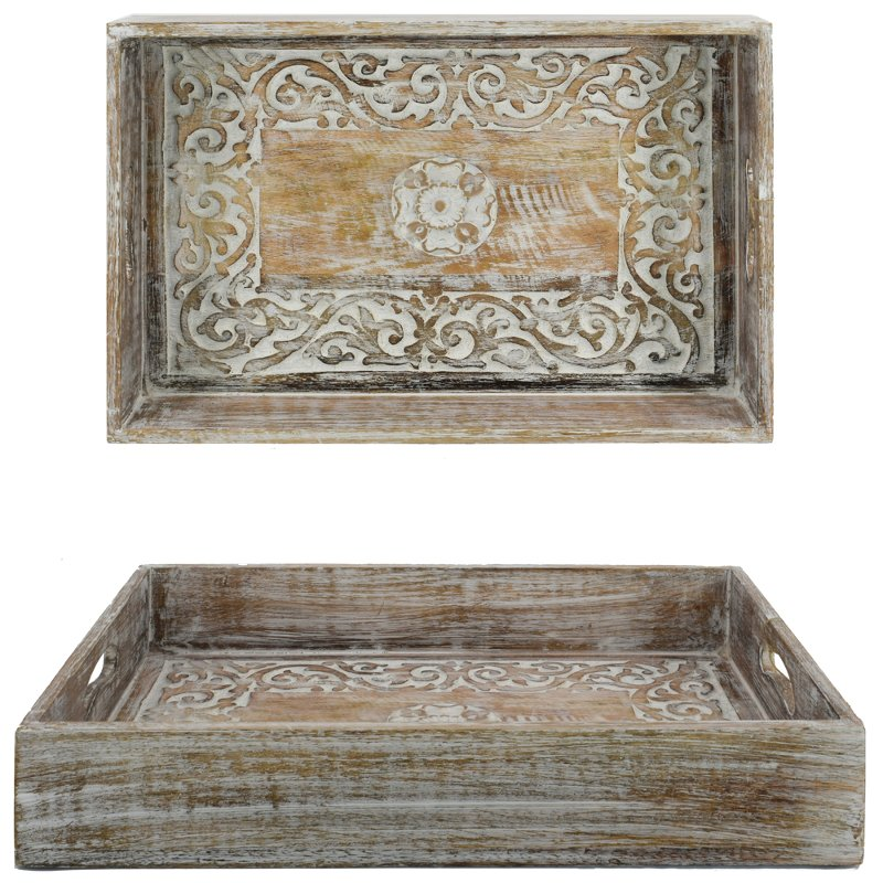 Rustic Brown Mango Wood Carved Tray With Cut Out Handles Rc Willey Furniture Store