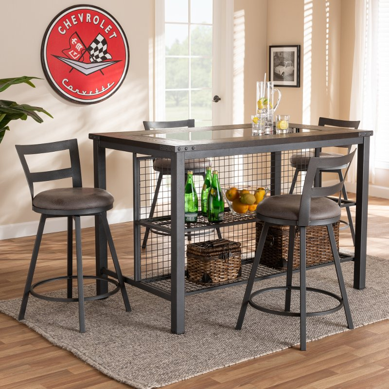 Industrial Gray 5 Piece Counter Height Dining Set Joelle Rc Willey Furniture Store