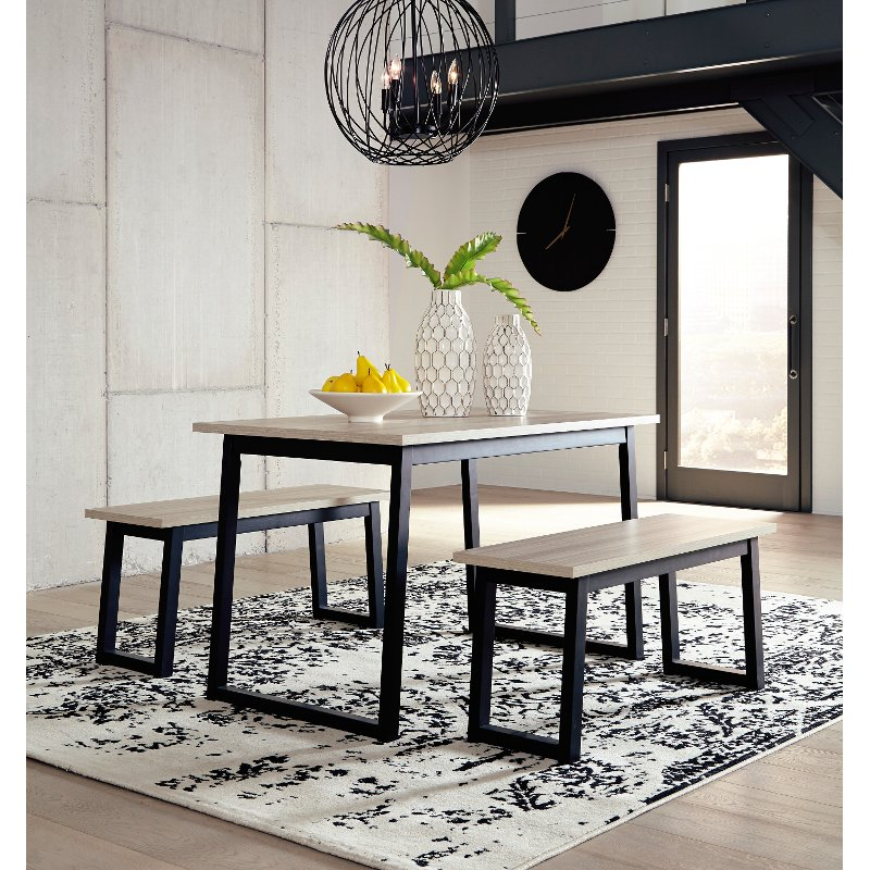 Contemporary Black And Brown 3 Piece Dining Room Set Colwick Rc Willey Furniture Store