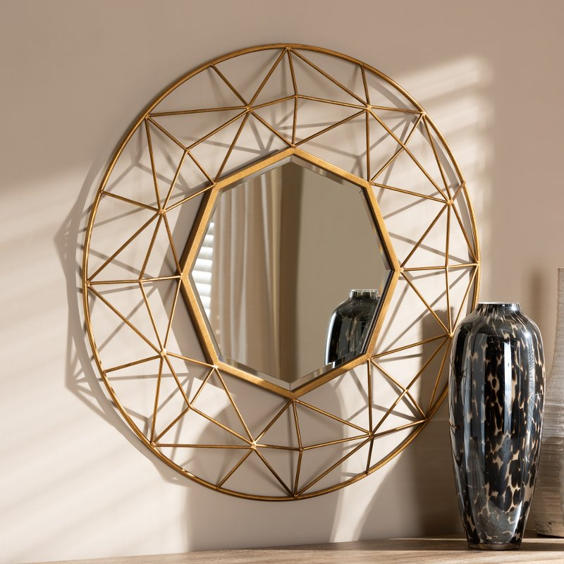 Modern Gold Geometric Accent Wall Mirror Astra Rc Willey Furniture Store