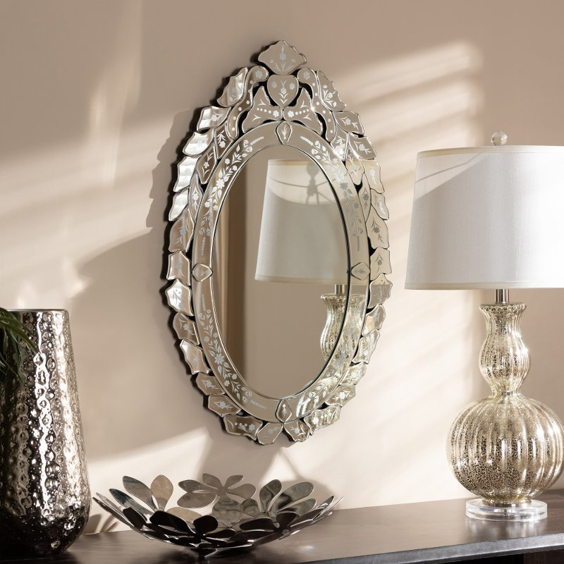 Traditional Silver Venetian Round Accent Wall Mirror Roselyn Rc Willey Furniture Store