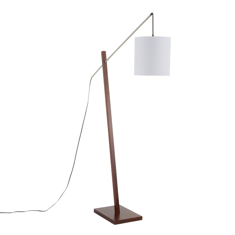 Contemporary Walnut Wood Floor Lamp, Contemporary Floor Lamp With Table